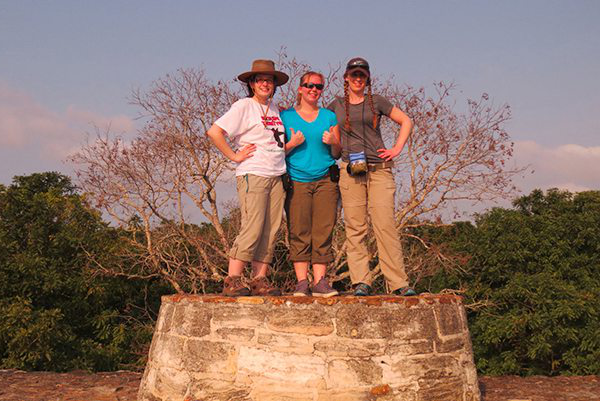 three female students study abroad in belize